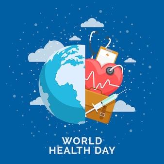 惑星と聴診器で世界保健デーのイラスト