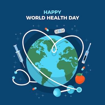 행성 및 청진 세계 보건의 날 그림