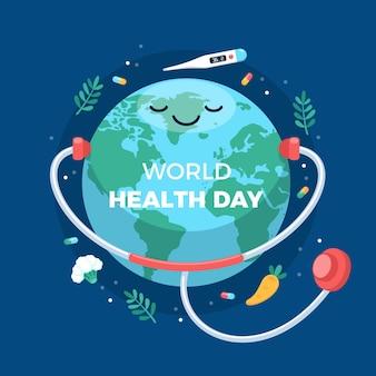 Иллюстрация всемирного дня здоровья с планетой и стетоскопом