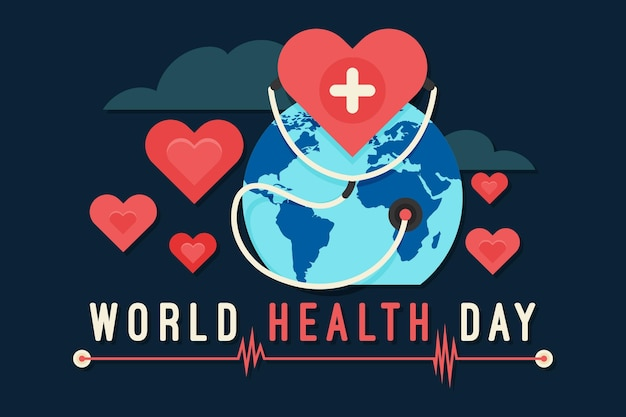 World health day illustration with planet and hearts