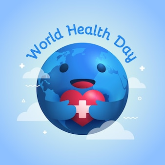 World health day illustration with planet holding heart
