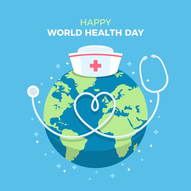 World health day illustration with planet and stethoscope