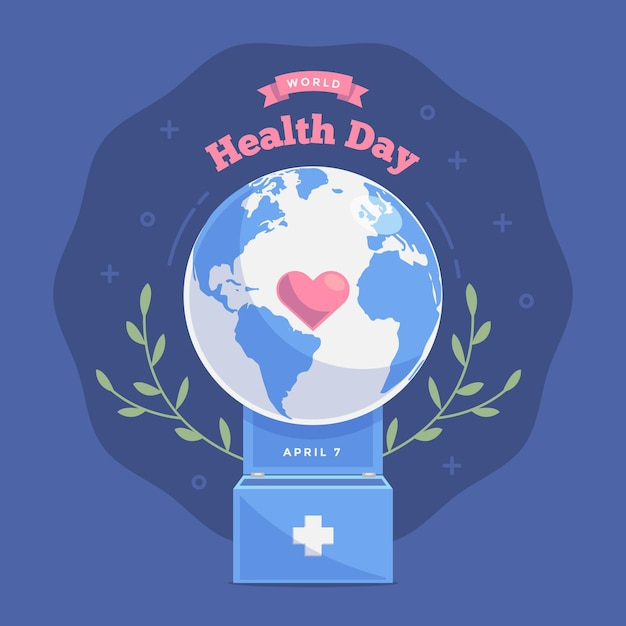 World health day illustration with planet