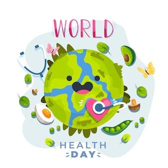 Всемирный день здоровья в плоском дизайне