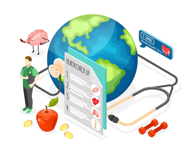 World health day isometric illustration with doctor taking care of earth