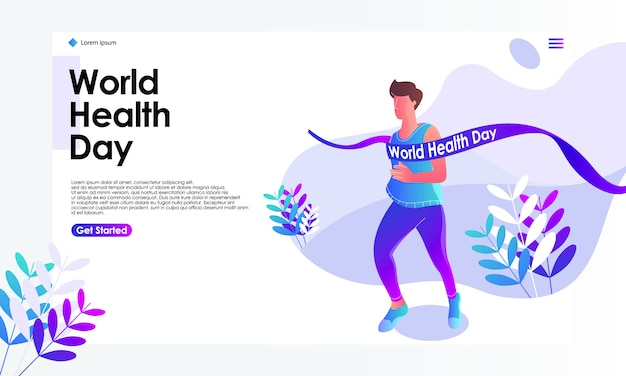 Иллюстрация целевой страницы всемирного дня здоровья