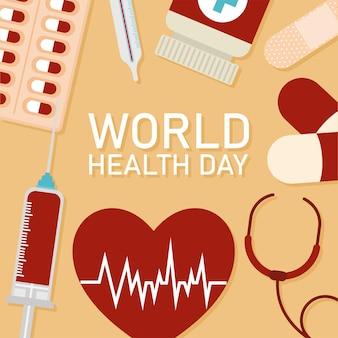 오렌지 배경 벡터 일러스트 디자인에 세계 건강의 날 레터링과 건강 아이콘