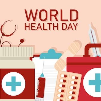 분홍색 배경 벡터 일러스트 디자인에 세계 건강의 날 레터링과 건강 아이콘