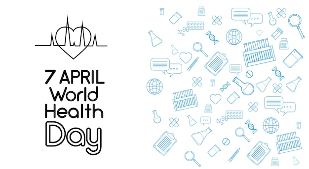 세계 건강의 날 의학 배너 스케치 배경