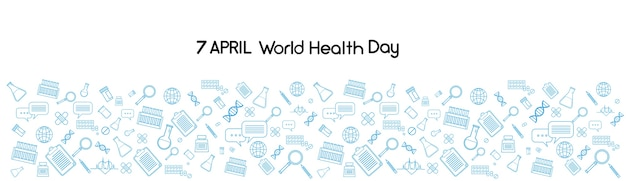 World health day medicine banner sketch background