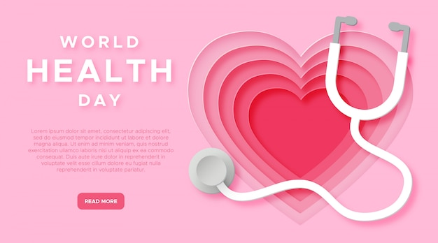 World health day in paper cut style