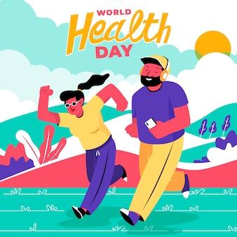 日光の下で走っている世界保健デーの人々