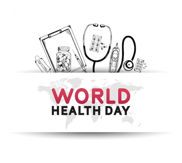 World health day poster with medical equipment