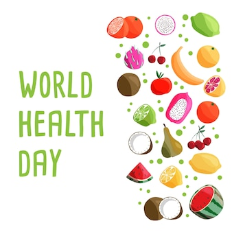World health day square banner template with collection of fresh organic fruit.