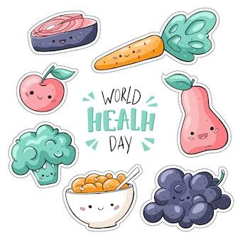 Стикеры всемирного дня здоровья на белом