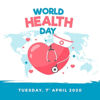 World health day wallpaper inflat design