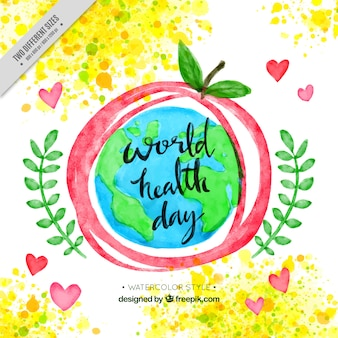 World health day watercolor background with apple and world
