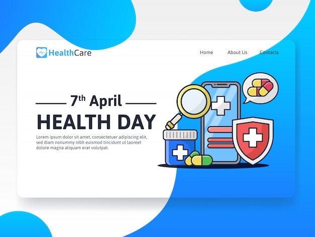 World health day web template landing page
