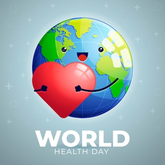 World health day with cute planet holding heart