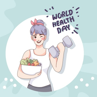 Всемирный день здоровья с девушкой и салатом