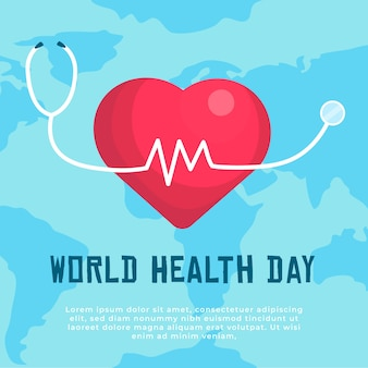 World health day with heart background