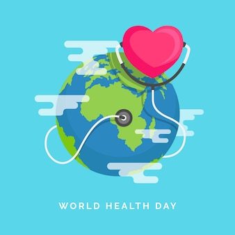 フラットなデザインで地球と世界保健デー