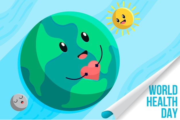 World health day with planet and moon