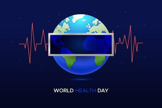 World health day with planet and soundwaves
