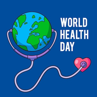 World health day with planet and stethoscope