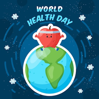 World health day with strong heart on top of planet