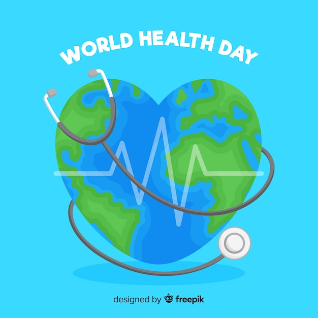 World health day with world heart-shaped illustration