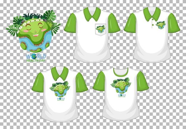 世界のhealthdayロゴと透明な背景で隔離の緑の半袖と白いシャツのセット