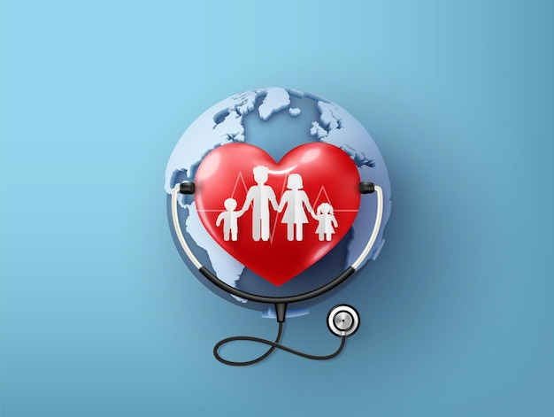 Всемирный день сердца и иллюстрация здравоохранения. концепция дня медицинской осведомленности, стиль вырезки из бумаги.