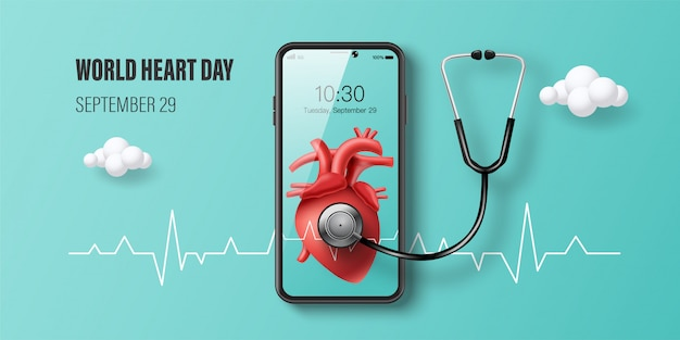 Знамя дня сердца мира, красное сердце на экране smartphone, консультация доктора онлайн и концепция медицинской страховки.