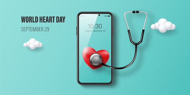 World heart day banner, red heart on smartphone screen, doctor consultation online and health insurance concept.