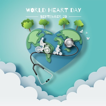 World heart day concept dad and son enjoy riding bikes in green city paper illustration and 3d paper