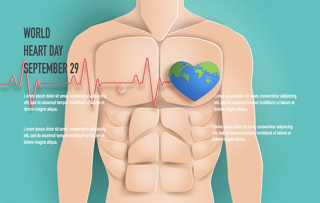 World heart day concept, man body with heartbeat line.