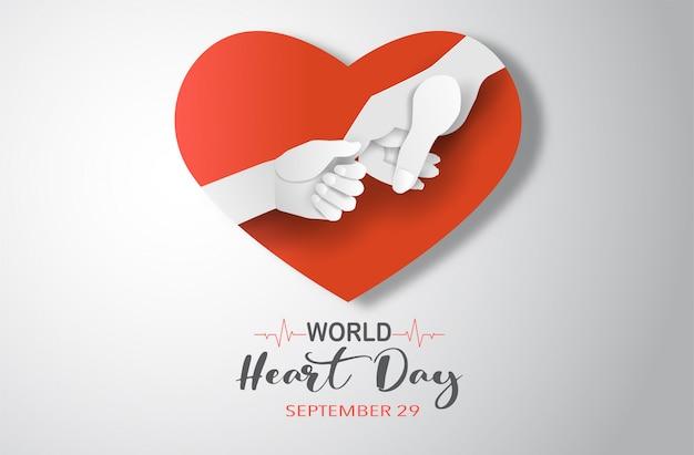 Концепция всемирного дня сердца, мать, держа руку своего ребенка