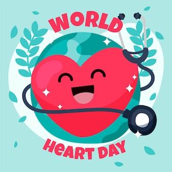 World heart day hand-drawn design