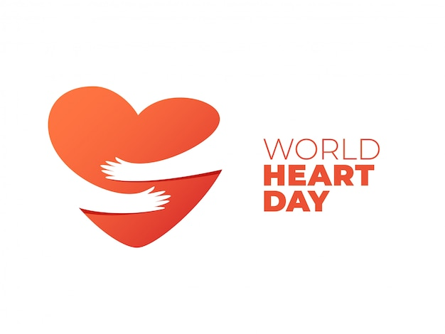 World heart day, hands hugging heart symbol