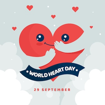 World heart day happy heart hugging itself