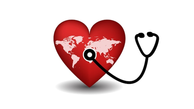 Всемирный день сердца сердце со стетоскопом