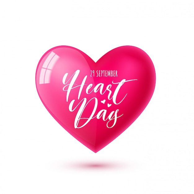 World heart day. illustration with pink heart symbol and text. for social media, web, banner