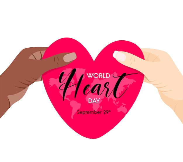 World heart day. illustration with red heart symbol in hands. for social media, web, banner