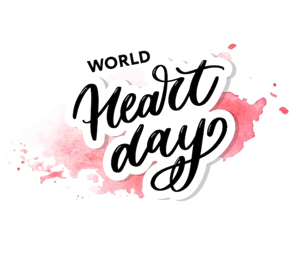 World heart day lettering