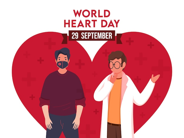 World heart day poster design with cartoon doctor and patient character on red heart shape and white background.