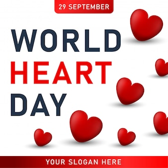 世界の心の日ポスター。赤いハートのwebバナー。