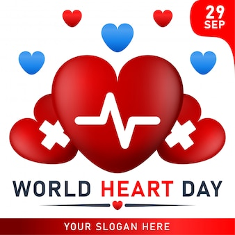 World heart day poster. web banner with red heart. Premium Vector