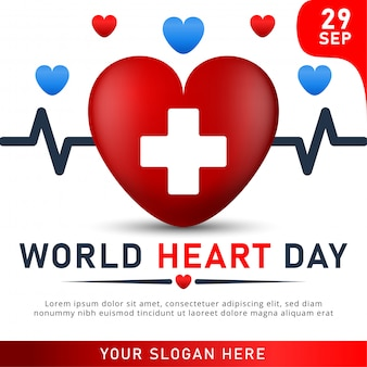 World heart day poster. web banner with red heart.