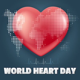 World heart day. realistic style banner. red heart with   .